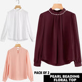 11-11 SALE: PACK OF 2 PEARL BEADING FLORAL TOP