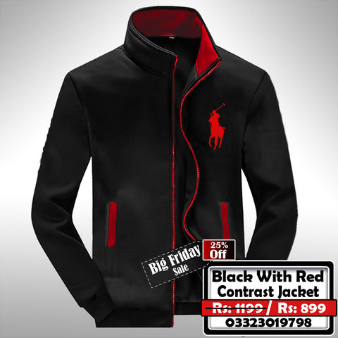 BLACK WITH RED CONTRAST JACKET
