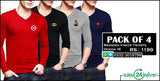 Pack of 4 Branded V-Neck Full Sleeves (Design 16)