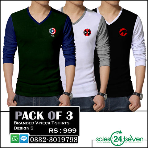Pack of 3 Branded V-Neck Full Sleeves T-Shirts (Design 5)