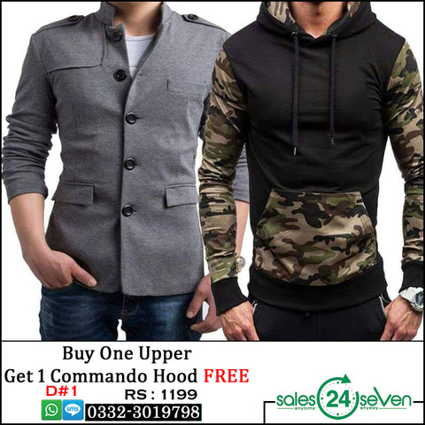 Grey Button Fleece upper with Commando Hoodie