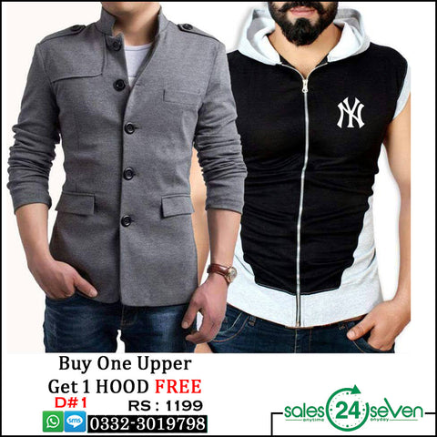 Grey Button Fleece Upper with NY Sleeveless Hoodie