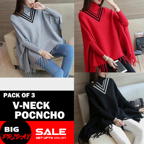 PACK OF 3 V-NECK PONCHO