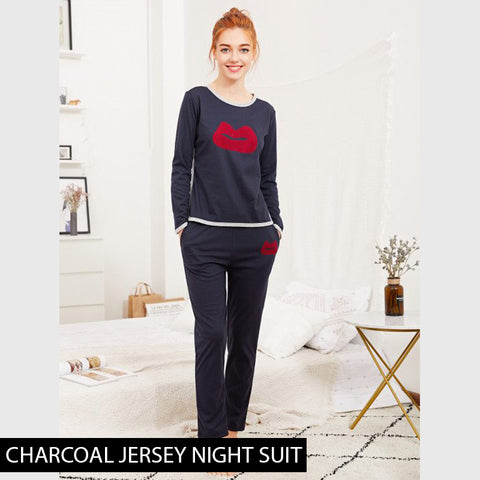 CHARCOAL JERSEY NIGHT SUIT