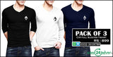 Pack of 3 CIH V-Neck Full Sleeves T-Shirts