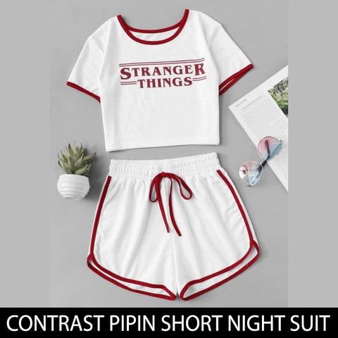 Contrast Pipin Short Night Suit