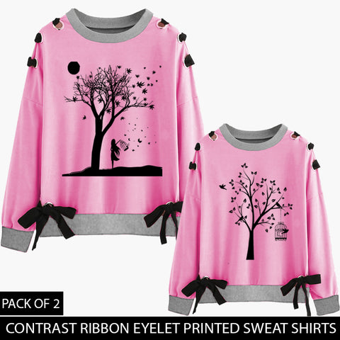 PACK OF 2 PINK CONTRAST RIBBON EYELET SWEAT SHIRT ( DEAL 3 )