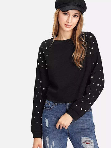 Crop Beaded Sweat Shirt Black