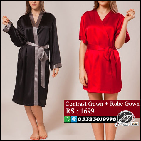 Stylish Robe Gown + Contrast Robe Gown