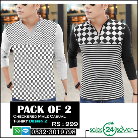 Pack of 2 Checkered Male Casual T-Shirts (Design 2)