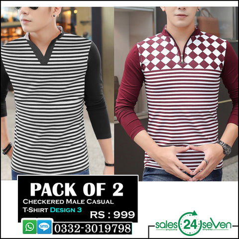 Pack of 2 Checkered Male Casual T-Shirts (Design 3)