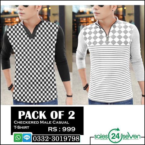 Pack of 2 Checkered Male Casual T-Shirts