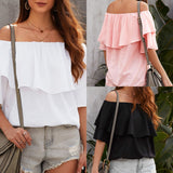 Ruffled Mid-Sleeved Off Shoulder Blouse