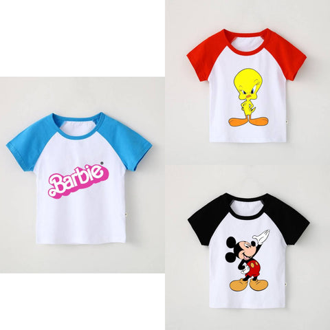Pack of 3 Raglan Printed Half Sleeve T Shirts for Kids