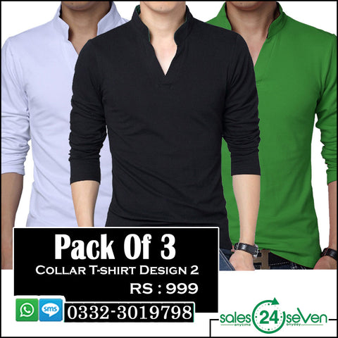 Pack of 3 Collar T-Shirts (Design 2)