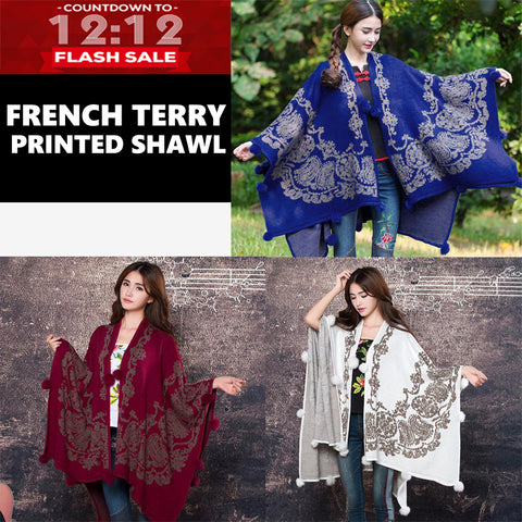 12-12 SALE:  FRENCH TERRY PRINTED SHAWL