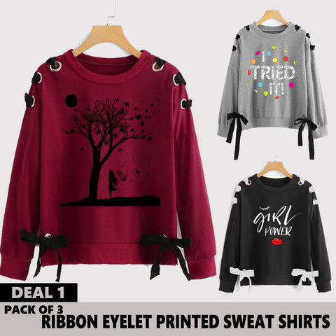 Pack of 3 Ribbon Eyelet Printed Sweat Shirts ( Deal 1 )