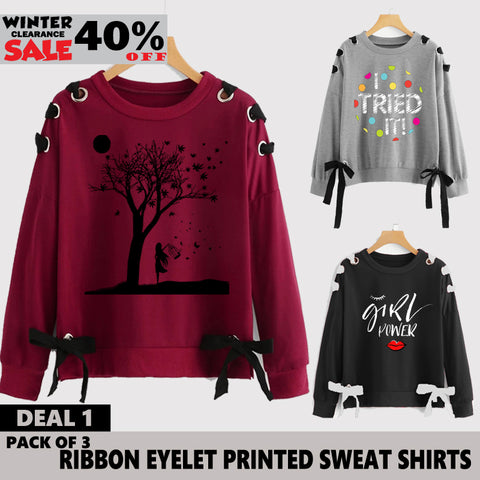 PACK OF 3 RIBBON EYELET PRINTED SWEAT SHIRTS ( WINTER CLEARANCE SALE )