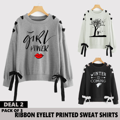 Pack of 3 Ribbon Eyelet Printed Sweat Shirts ( Deal 2 )