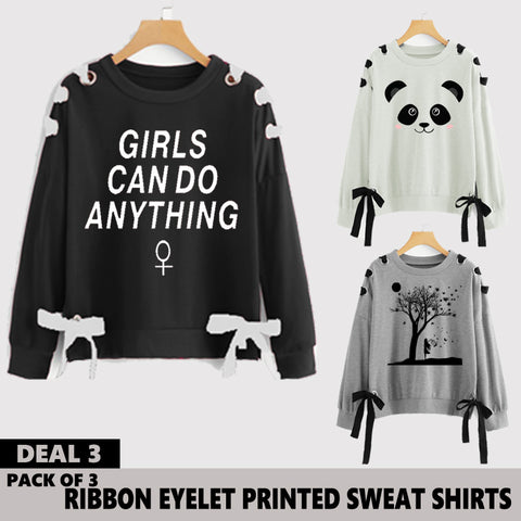 Pack of 3 Ribbon Eyelet Printed Sweat Shirts ( Deal 3 )