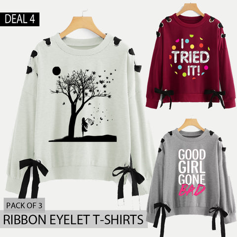 Pack of 3 Ribbon Eyelet Printed T-Shirts (Deal-4)