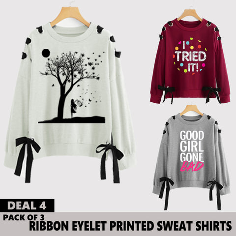 Pack of 3 Ribbon Eyelet Printed Sweat Shirts ( Deal 4 )