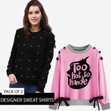 PACK OF 2 DESIGNER SWEAT SHIRTS ( BLACK N PINK )