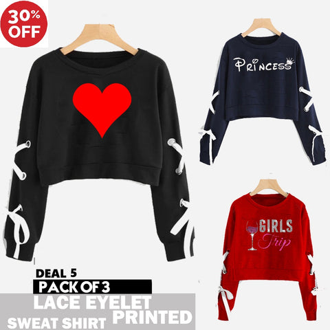 11-ELEVEN SALE:  PACK OF 3 LACE EYELET PRINTED SWEAT SHIRTS ( DEAL 5 )