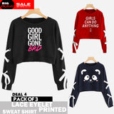 PACK OF 3 LACE EYELET PRINTED SWEAT SHIRTS ( DEAL 4 )