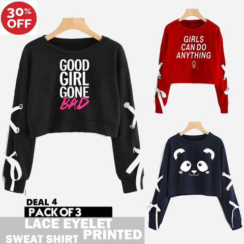 11-11 SALE:  PACK OF 3 CROPPED LACE EYELET PRINTED SWEAT SHIRTS ( DEAL 4 )