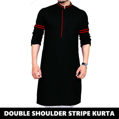 DOUBLE STRIPED PRINTED SLEEVES KURTA 1