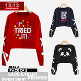 12-12 SALE : PACK OF 3 LACE EYELET PRINTED SWEAT SHIRTS ( DEAL 2 )