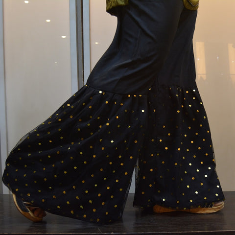 Polka Dots Net Covered Black Gharara Pants