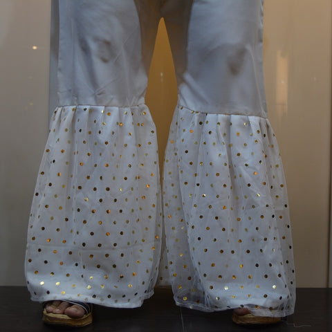 Polka Dots Net Covered White Gharara Pants