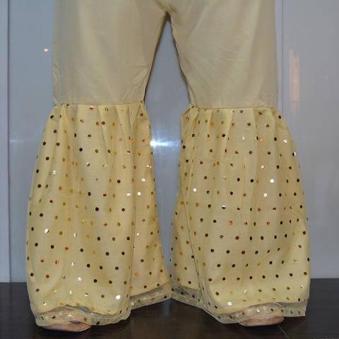 Polka Dots Net Covered Beige Gharara Pants