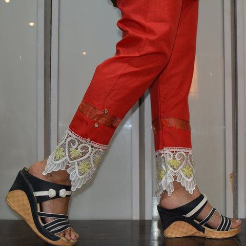 Red Laced & Net Bottom Pants