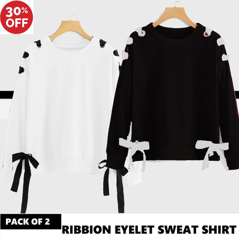 11-ELEVEN SALE: PACK OF 2 RIBBON EYELET SWEAT SHIRT ( DEAL 2 )