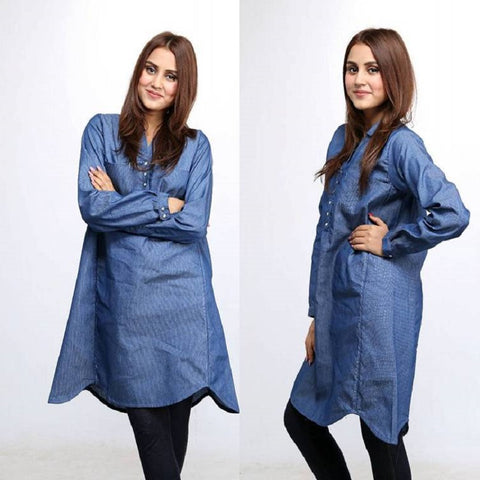 Stylish Tich Button Denim Kurti