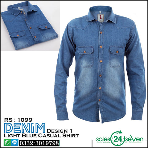 DENIM Sky Blue Casual Shirt Design # 1