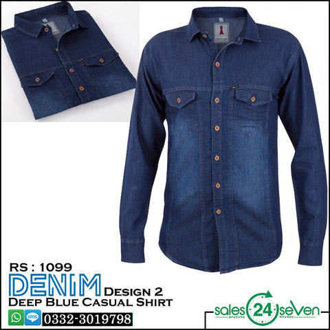 DENIM Deep Blue Casual Shirt Design # 2