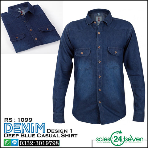 DENIM Deep Blue Casual Shirt Design # 1