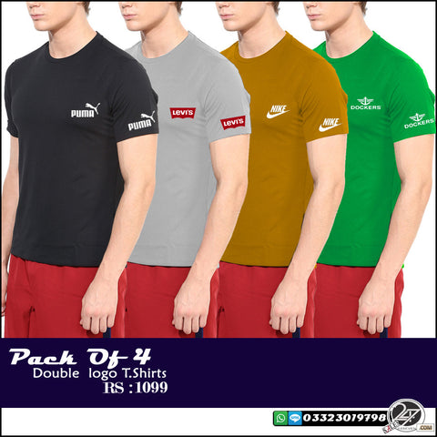 Pack of 4 double logo t shirts