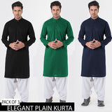 PACK OF 3 ELEGANT PLAIN KURTA