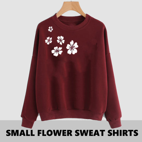 MAROON SIDE FLOWER PRINTED SWEAT SHIRT