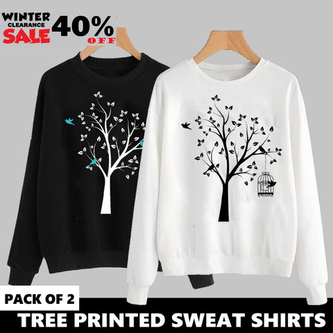 PACK OF 2 TREE PRINTED SWEAT SHIRTS ( WINTER CLEARANCE SALE )