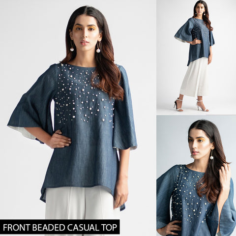 Front Beaded Denim Casual Top