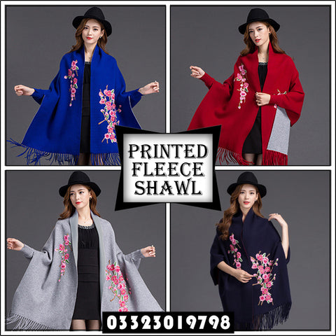 Printed Fleece Shawl