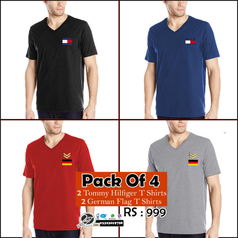 Pack of 4: 2 German flag+ 2 Tommy Hilfiger Tshirts
