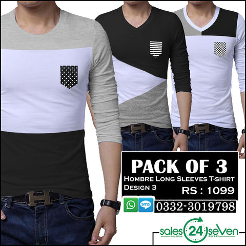 Pack of 3 HOMBRE Long Sleeves T-Shirts (Design 3)