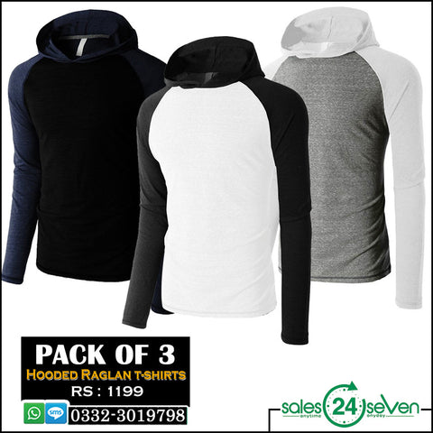 Pack of 3 Hooded Raglan T-Shirts